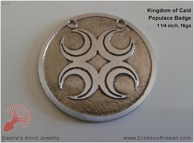 Gaeira's Anvil Jewelry: Kingdom of Caid, Populace Badge