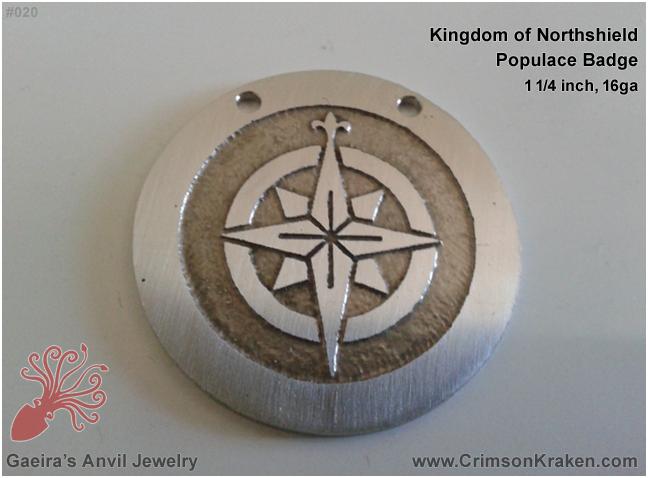 Gaeira's Anvil Jewelry: Kingdom of Northshield, Populace Badge